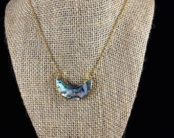 Abalone Shell Half Moon Atlantis Necklace in Gold