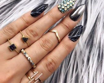 Black Marble Gunmetal Chrome Crystal Press On Nails | Any Shape | Fake Nails | False Nails | Glue On Nails