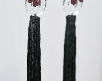 Lasercut Plexiglass earring with metallic pink leather and long tassels
