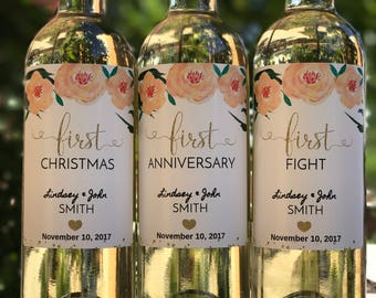 Wedding Milestone Wine Labels - Bridal Shower Gift - Engagement Gift - Unique Wedding Gift for Couple
