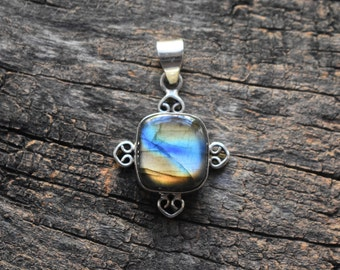 orange labradorite pendant,92.5 silver Pendant,labradorite pendant,labradorite necklace