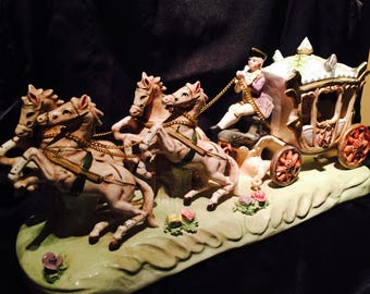 Ceramic Queen In Her Carriage With Her Coachman And Four Horses Figurine