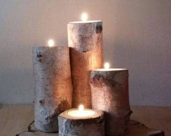 Pendula log candle holders