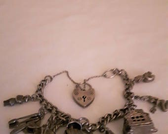 Vintage Sterling Silver Charm Bracelet with Sterling Silver Hallmarked on each Link - 1940s
