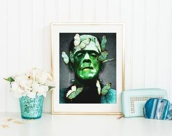Frankenstein Print, Frankenstein Poster, Frankenstein Wall Art, Monster Print, Monster Wall Art, Monster Poster, Frankensteins Monster Print