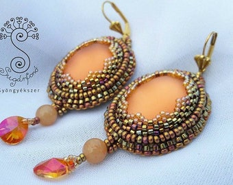 Sunshine Earrings, bead embroidered earrings, beadwork, women's jewellery, gift for her,  christmas present