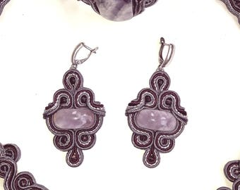 Hand-crafted jewelry # Handmade Fashion amethyst set # Ornaments from sutured tape #