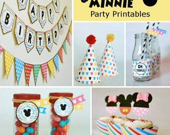 Mickey & Minnie Birthday Party Printables -  Instant Download - Party Props