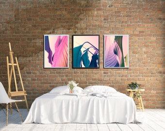 Modern Gallery Wall Printables, Large Leaf Printable Wall Decor, Coastal Home Decor Ideas, Tropical Photo Decor, Apartment Gallery Wall