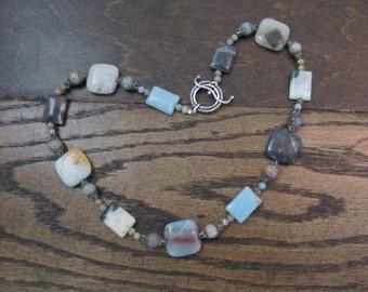 "Amazonnite and Aqua Terra Jasper Gemstone Necklace 18"""