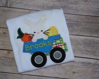 Boys Easter Bunny Applique Shirt, Easter Bunny in a Dump Truck Applique Shirt, Boys Easter Shirt, Boys Dump Truck Shirt
