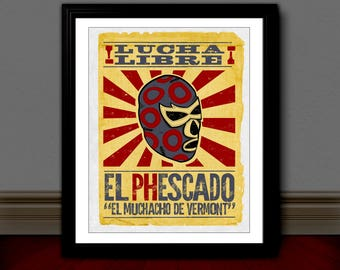 PHISH Inspired Poster Print | 11x14 | Lucha Libre | Retro | Wall Art | Home Decor