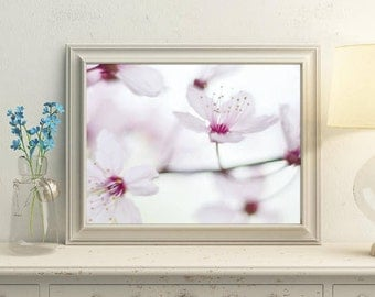 Pink bedroom art, Floral wall decor bedroom, White pink wall arts, Light picture PRINTABLE, Digital flower art, Floral wall decor pink white