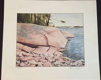 Ivan T. Wheale Shore Line Print of Original Water Color Painting|British/Canadian Artist