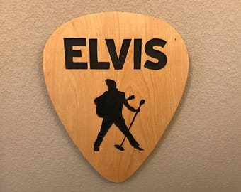 Elvis Presley handmade guitar pick scroll saw art