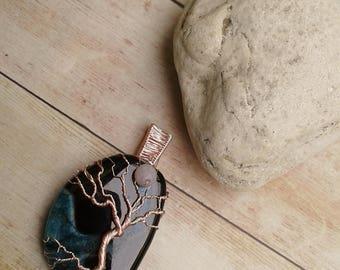 Tree on the Ocean, Copper Pendant, Moon pendant, tree of life pendant, yggdrasil pendant, full moon and tree pendant, ooak tree of life
