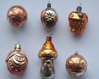 Set of 6 Soviet Vintage Christmas Tree toys,Collectible Vintage Glass Toys, USSR Glass Toys,Xmas Tree Toy,Glass Christmas decorations