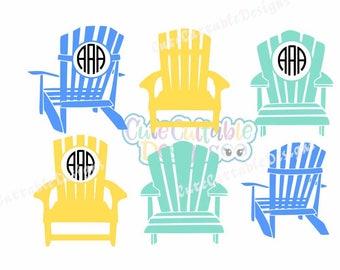 Elegant Adirondack Beach Chair Svg, Summer SVG Monogram Frame, Ocean Design, Beach  Svg,