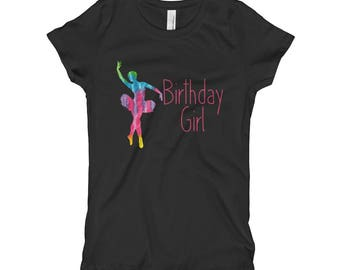 Birthday Girl Ballet Ballerina Pink Colorful Second Third Fourth Fifth Sixth Seventh Eighth Ninth Tenth Birthday Party Outfit Girl's T-Shirt