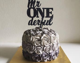 Mr. Onederful Cake Topper for First Birthday, Baby Boy Party, Birthday Party -Glitter Cupcake and Cake Topper, Newborn Little One