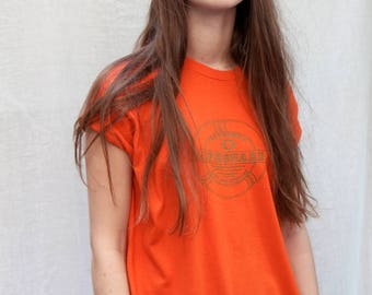 Vtg 1970s NYC Lifeguard Orange T-shirt