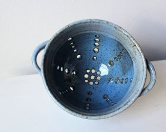 Ceramic Berry Bowl, Clay Colander, Pottery Strainer, Blue