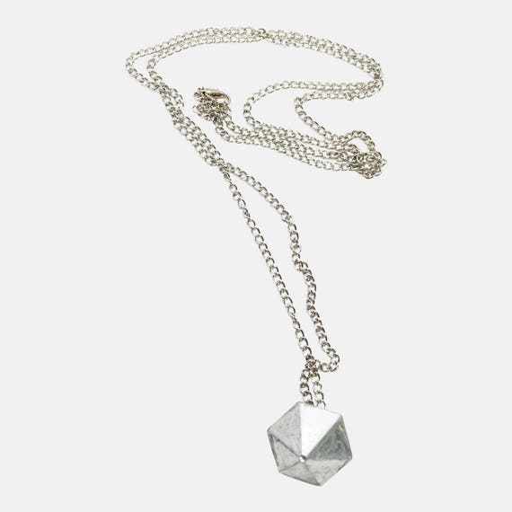 Chain Necklace SILVER CHAIN Concrete Jewelry Minimalist Design Concrete Cone Long Silver Chain