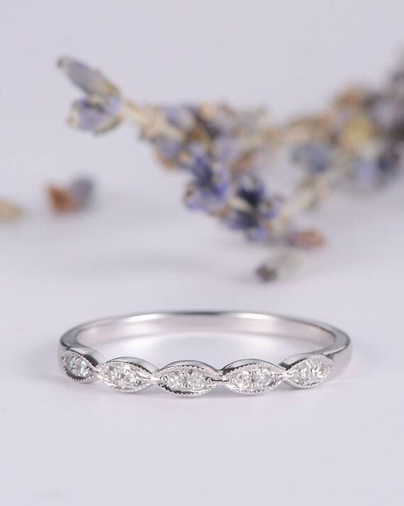 art deco wedding band women white gold half eternity band wedding bridal ring milgrain antique dainty