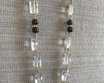 Rock Crystal Quartz and Upcycled Wooden Bead Necklace