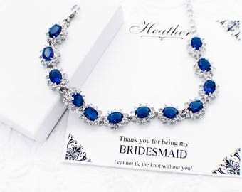 Sapphire blue wedding bracelet, blue wedding jewelry, blue bridesmaid bracelet, blue bridesmaid jewelry, something blue, crystal bracelet