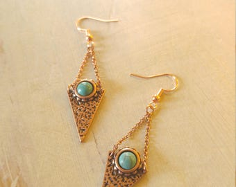 Copper + Turquoise Kite Earrings