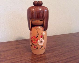 Hand-painted wooden vintage Kokeshi Doll from Japan