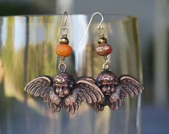 Winged Cherub Earrings with Zesty Orange and Gold Etched Beads French Brass French Findings Stampings