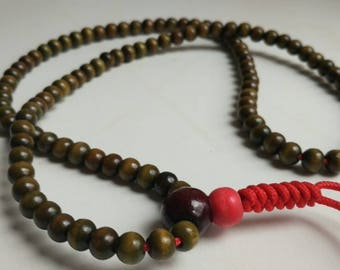 RED stupa: 108 bead mala for meditation
