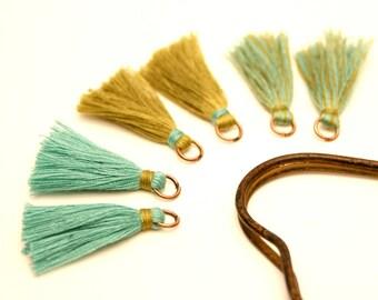 6 khaki pom poms, tassels green 35 mm, copper, metal ring Tassel
