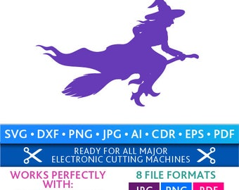 Witch Svg Halloween Witch Svg Witch Cut Files Silhouette Studio Cricut Svg Dxf Jpg Png Eps Pdf Ai Cdr