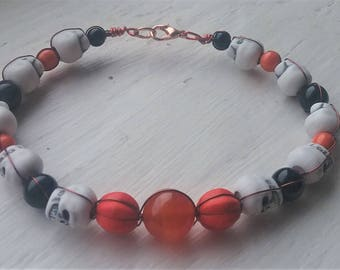 Orange Pumpkin Skull Bracelet