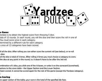Yardzee Lawn Game Rules and Scoresheet