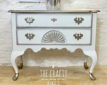 Chalk Painted Vintage Low Boy Chest of Drawers