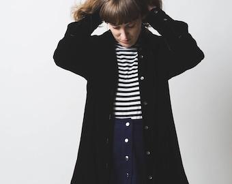 Black velvet shirt // 1990's // silk blend velvet