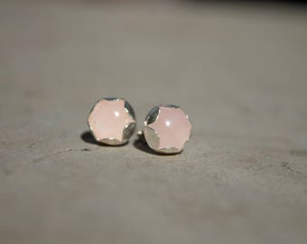 blush stud earrings, dainty earrings, minimal earrings, minimal ear studs, blush earrings, dainty 925 silver earrings, everyday earrings