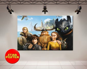 How to Train Your Dragon, Toothless, Hiccup canvas, Night Fury canvas, Toothless canvas, Vikings canvas, Movie canvas, Toothless wall art