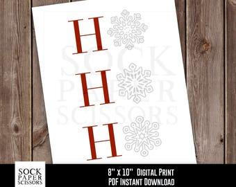 Printable Print, Ho Ho Ho Printable , Christmas Decor, Snowflake Print, Christmas Wall Art, Holiday Decor, PDF Digital Download, SKU-RHO135