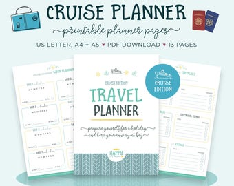 Cruise Travel Planner Printable, Holiday Planner, Vacation Checklist, Trip Planner, Packing List, Travel Itinerary, Vacation Planner Kit