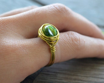 Brass Wire Wrapped Ring, Vintage Ring, Green Ring, Gifts for Her, Festival jewellery, Bridesmaid Gifts, Rings, Quirky