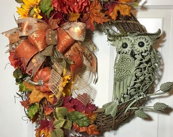 owl wreath, fall decor, autumn wreath, fall wreath, fall outdoor wreath, fall  decor, orange wreath, gourd wreath, sunflower wreath