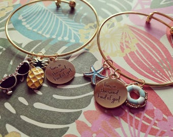 Toes in the Sand Kind of Girl Gold Plated Charm Bracelets
