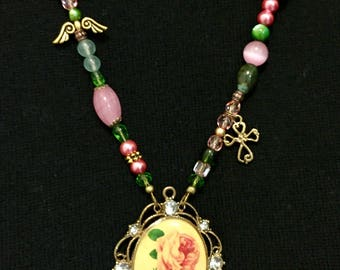 Victorian style, pendant necklace, pink and green, rose cross angel wings, beaded statement, retro Boho hippie, Baroque Byzantine, OOAK