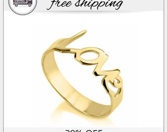 29% off- SALE!! Love Ring Cursive, Gold Love Ring, Love Ring, Gold Plated Rings, Bridesmaid Jewelry Gift, Letter Ring, Cursive Jewelry