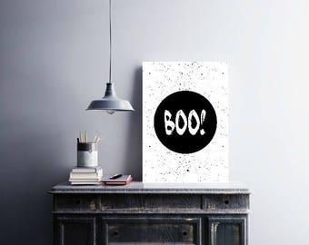 BOO Prints / Halloween Prints / Monochrome Poster / Boo Poster / Halloween Wall Art / Halloween Black and White Sign / Boo Digital Print